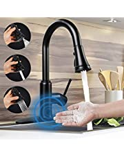 Motion Sensor Touchless Kitchen Faucet,Soosi Automatic Pull Down Kitchen Faucet Single Handle One/3 Hole 3 Setting Sprayer Kitchen Faucets Spot Free Matte Black Solid Stainless Steel Lead Free