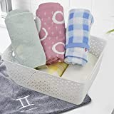 Hespapa White Plastic Basket, Weave Storage Baskets with Handles, 4 Packs