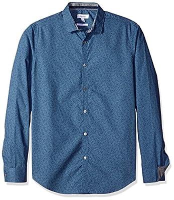 Calvin Klein Men's Slim Fit Cross Hatch Print Long Sleeve Button Down Shirt, Delft, Small