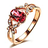 Attractive Genuine Pink Tourmaline Gemstone South Africa Diamond 14K Rose Gold Wedding Engagement Ring Set