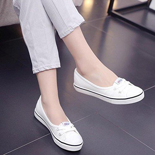 Transer® Damen Flach Mokassins Frühling/Herbst Casual Schuh Leinwand+Dichotomanthes Sandelholz Slipper(Bitte eine Nummer größer bestellen. Vielen Dank!) Weiß