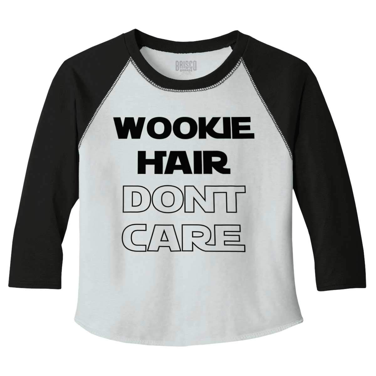 Brisco Brands Wookie Hair Don't Care Cute Nerdy Geeky Toddler Baseball T