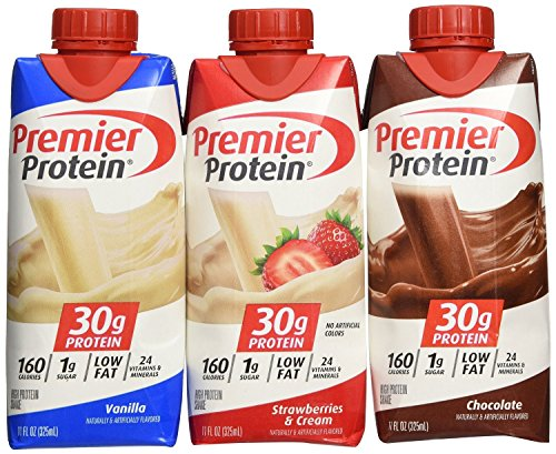 (Lot of 12 Premier Protein 30g High Protein Shakes 11 Oz. Variety Pack Contains Chocolate, Vanilla & Strawberries & Cream )