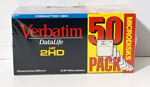 Verbatim 91004 50PK 1.44 MB MF2HD FLOPPY DISKETTES IBM PRE-FMT GREY DATALIFE by Verbatim