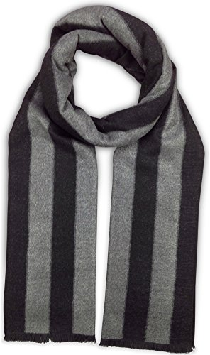 - Bleu Nero Luxurious Winter Scarf Premium Cashmere Feel Unique Design Selection (Black/Grey Thick Vertical Stripes)
