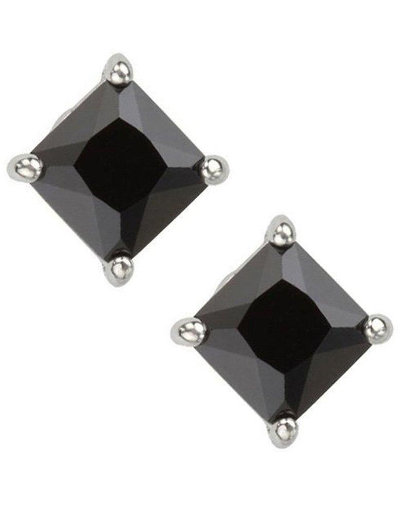 Black Square Princess Cut CZ Basket Set Sterling Silver Stud Earrings 8mm