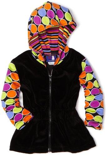 Flap Happy Dots (Flap Happy Baby Girls' Velour Contrast Print Luxxe Hoodie, Luna Dot, 18 Months)