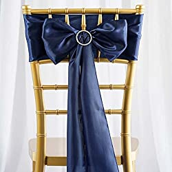 Efavormart 25pcs Navy Blue Satin Chair Sashes Tie Bows for Wedding Events Decor Chair Bow Sash Party Decoration Supplies 6 x106