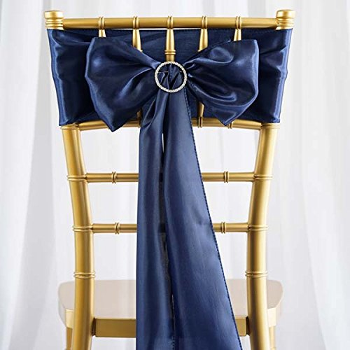Efavormart 25pcs Navy Blue SATIN Chair Sashes Tie Bows Catering Wedding Party Decorations 6 x106