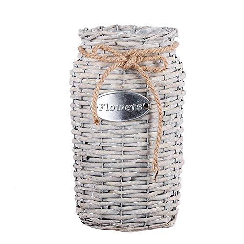Gorge-buy Wicker High Floor Vase - Hand-Woven Flowerpot Succulents Home Straw Flower Basket, Fleshy Flower Pot with Hemp Rope, Ideal Gift for Weddings Home Decor