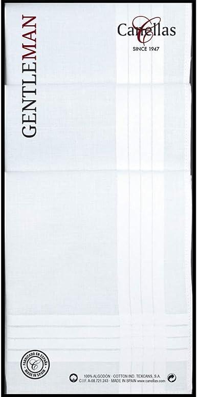 Canellas 125C6 algodón, Blanco, Tamaño del pañuelo 44 cm Hombres ...