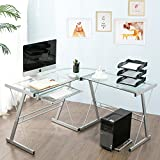 Cheap Modern Luxe by Merax Glass L-shaped Corner Desk Office Modern Home Computer Desk Multi Function Desk PC Laptop Table Workstation, Sliver