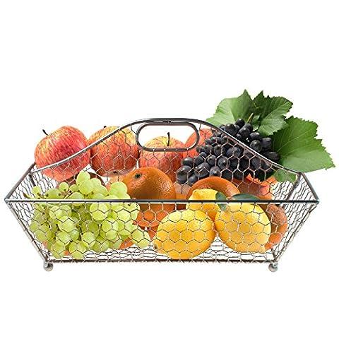 Chicken Wire Storage Fruit Basket, Kitchen Bathroom Bin Organizer - Silver