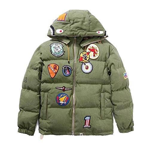06360128 Wordbuy New Bape A Bathing Ape Hoodie Jacket Shark Head Embroidery Thicken  Cotton Coat (M