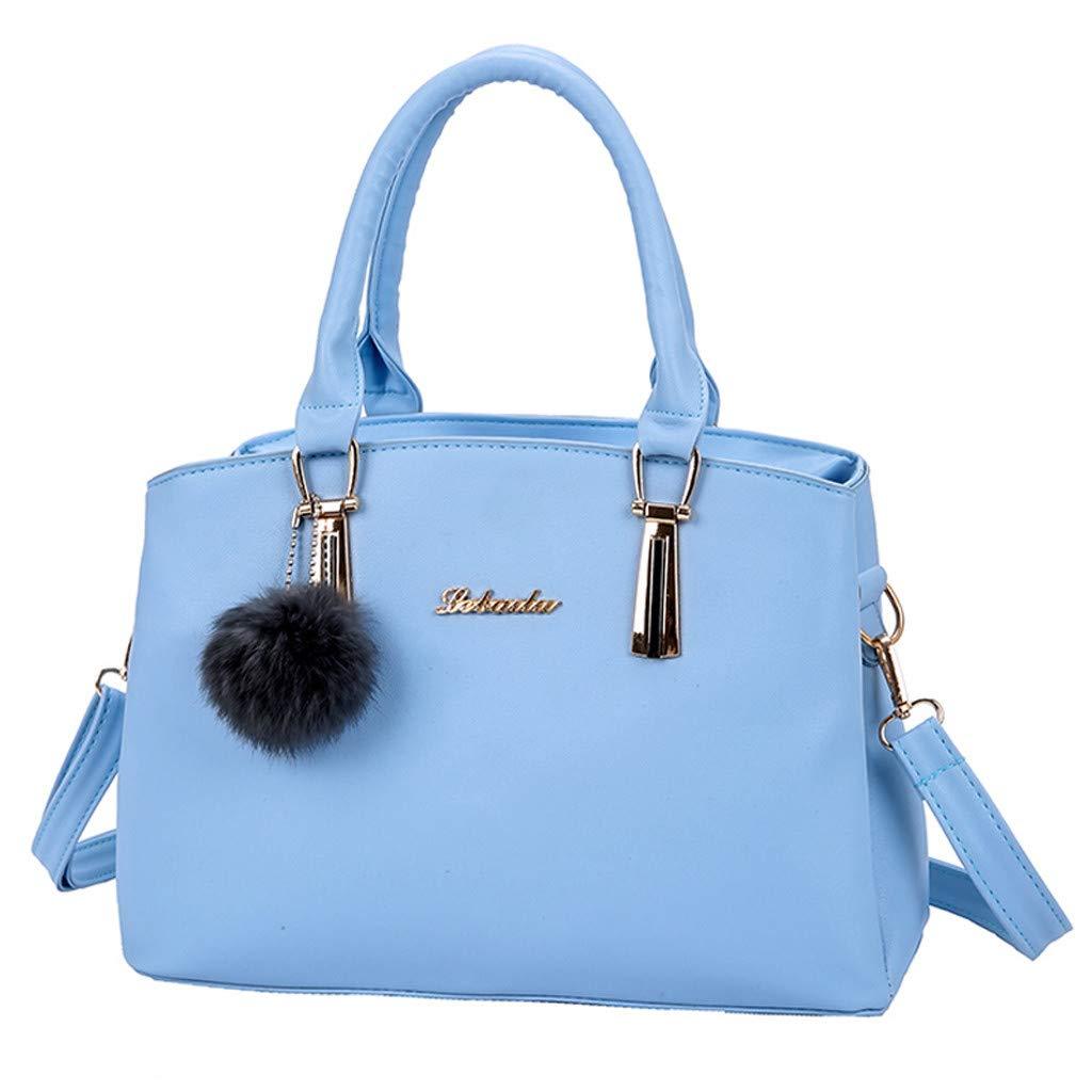 HULKAY Upgrade Diagonal Bag Handbag for Women Fashion Solid Color Hairball Crossbody Bags Lady Leather Totes Sky Blue