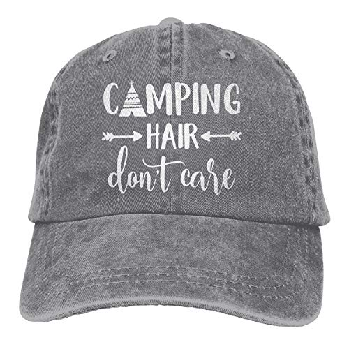 HHNLB Unisex Camping Hair Don t Care 1 Vintage Jeans Baseball Cap Classic Cotton Dad Hat Adjustable Plain Cap Gray