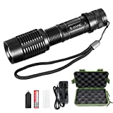 S-JIANG Super Bright Tactical Flashlight, 1000 Lumens 5 Modes Ultra Bright High Lumen Output Portable LED Flashlight Rechargeable (18650 Battery & Charger Included)