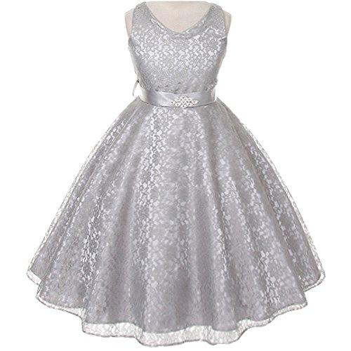 Big Girls Fabulous Full Lace V-Neck Dress Rhinestone Brooch Silver - Size 8