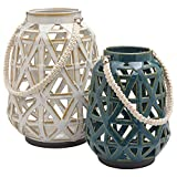 "Stone & Beam Modern Reactive Glaze Lantern with Cutouts, Set of 2, 12""H and 9.75""H, Cream and Blue"