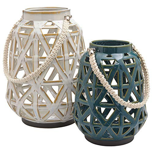 Stone & Beam Modern Farmhouse Decorative Candle Holder Lantern with Cutouts - Set of 2, Cream and Blue