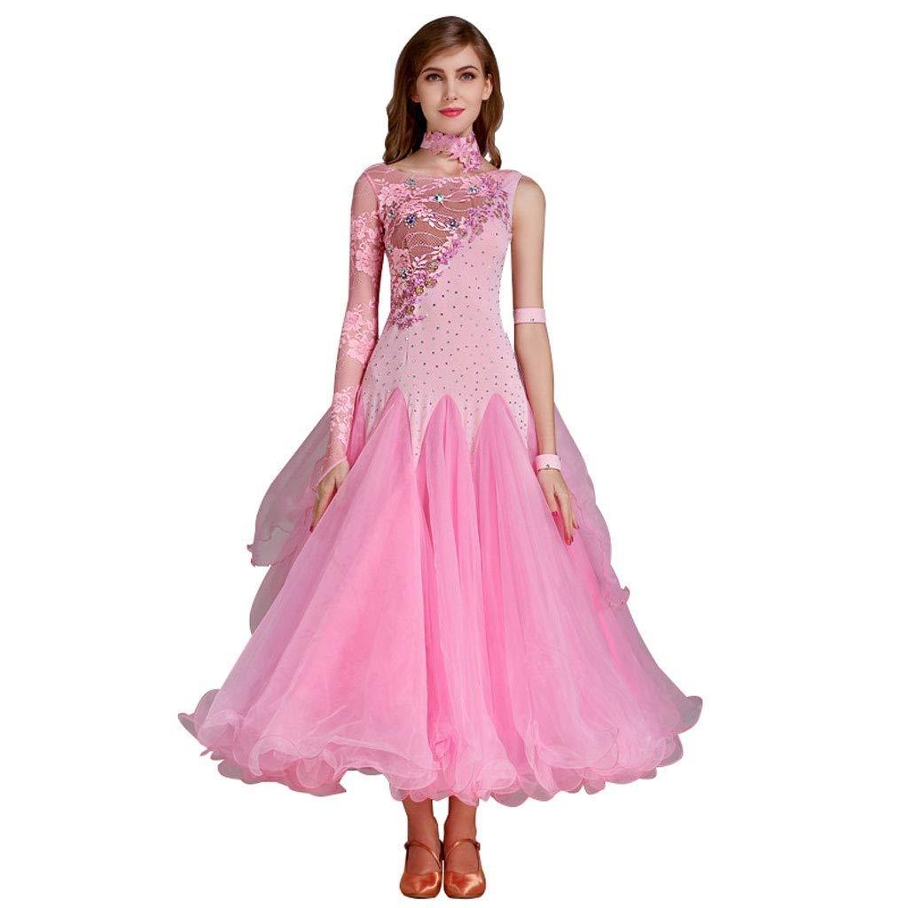 rose X-grand XXHDYR Robe de Danse Moderne avec Coutures en Dentelle et Une Grande Robe trapèze. (Couleur   bleu, Taille   S)