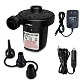 mobfun Electric Air Pump for Inflatables, Air Pump for Air Mattress Car Air Bed Pool Float Toy Exercise Ball, Quick-Fill Inflator Deflator with Nozzles, 110V AC/12V DC