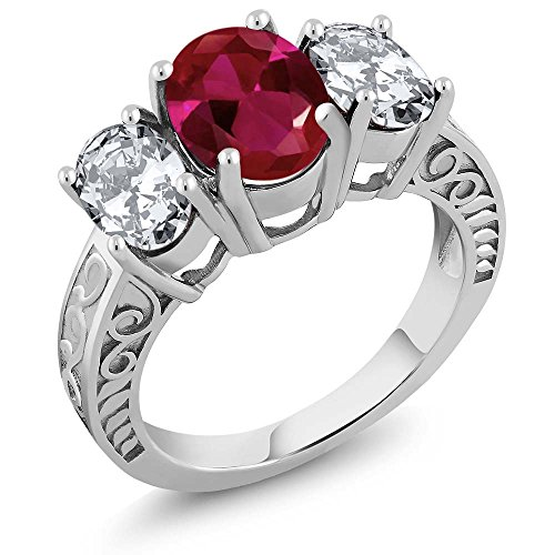 (Gem Stone King 5.00 Ct Oval Red Created Ruby 925 Sterling Silver Ring (Size 7))