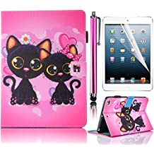 Tablet Case for iPad Mini 1 2 3, Bonice Premium Colorful Painted Pattern Leather Stand Folio Wallet Case Magnetic Snap with Card Slots Shockproof Protective Cover for Apple iPad Mini 3 - Two Cats
