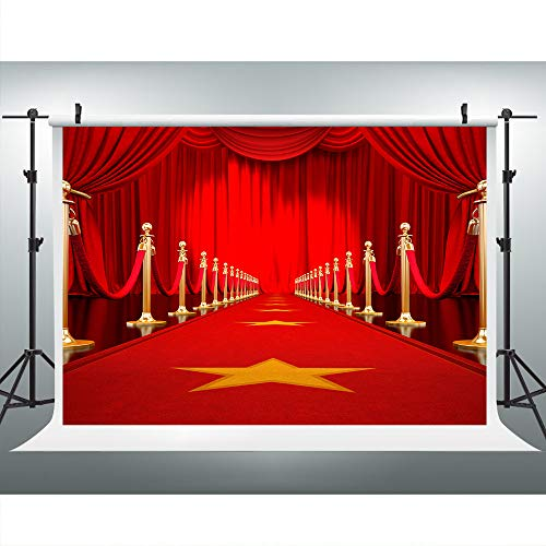 Hollywood Red Carpet Curtain Backdrop for Photography, 7x5ft,