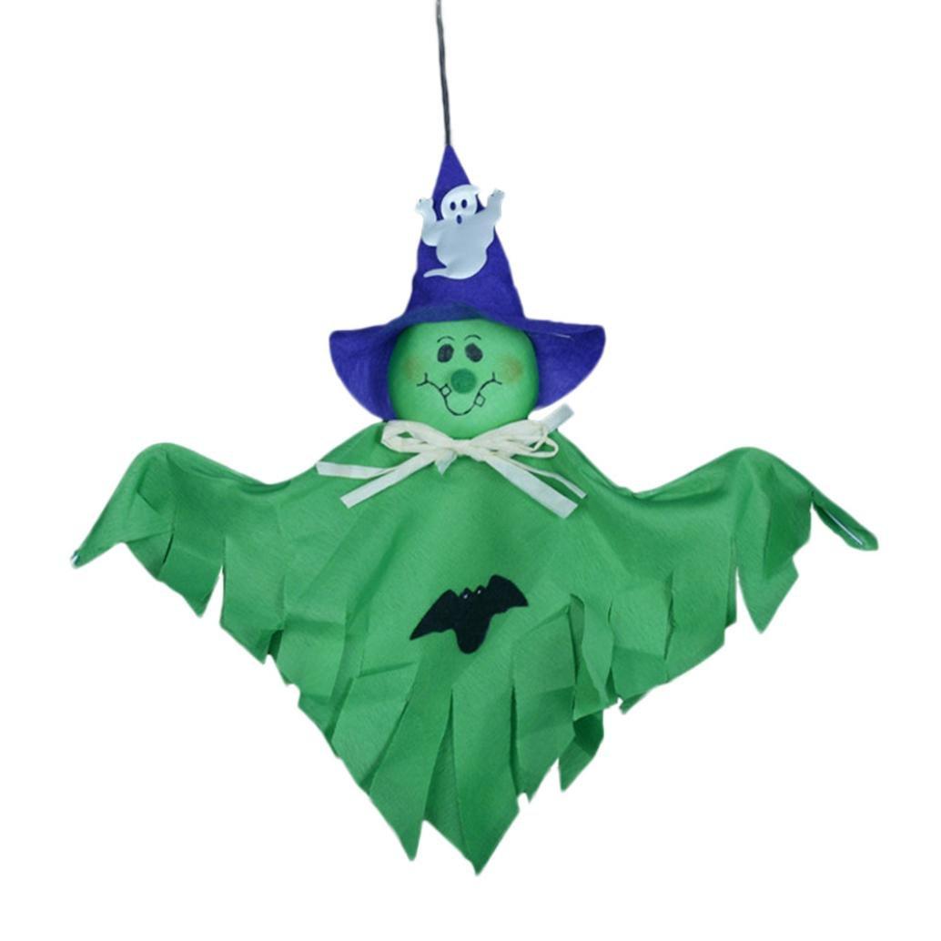 Single Ghost Pendant,VIASA Cute Ghost Halloween Decoration Kids Toys 2 Pcs (Green) by VIASA_ (Image #1)