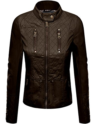 FPT Womens Quilted Panel Faux Leather Jacket ROSE 1X-LARGE