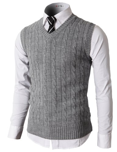 H2H Mens Casual Knitted Slim Fit V-neck Vest With Twisted Patterned GRAY US XL/Asia 2XL (KMOV037)