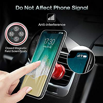 Air Vent Phone Holder, MEIDI Universal Magnetic Phone Car Mount 360 Rotation Cell Phone GPS Holder Compatible iPhone Samsung HTC and Mini Tablets(Red): Electronics