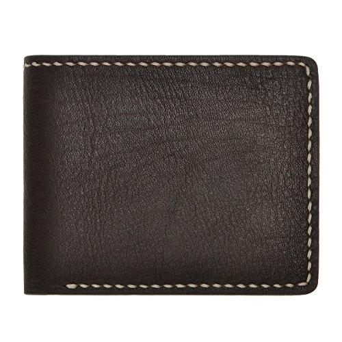 ZLYC Fashion Minimalism Handmade Vegetable Tanned Leather Slim Billfold Wallet (Coffee)