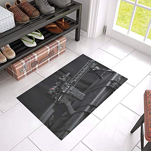 HUAPIN Gun Enthusiasts'rifles Welcome Cleaner Doormat for Home and Business Indoors and Outdoors Dirt Trapper Door Mat Non-Slip Entrance Rug Carpet 23.6