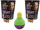 StarMark Bob-A-Lot Interactive Dog Toy with 2 Packs of StarMark Pro-Training Treats – 5oz Each