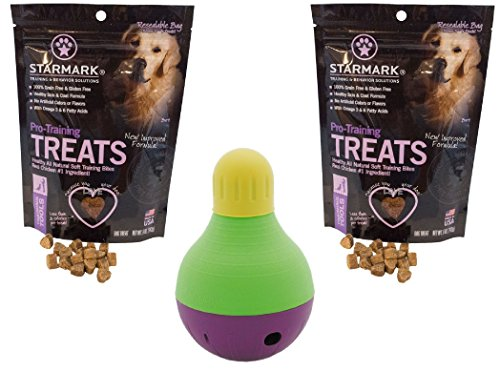 StarMark Bob-A-Lot Interactive Dog Toy with 2 Packs of StarMark Pro-Training Treats – 5oz Each