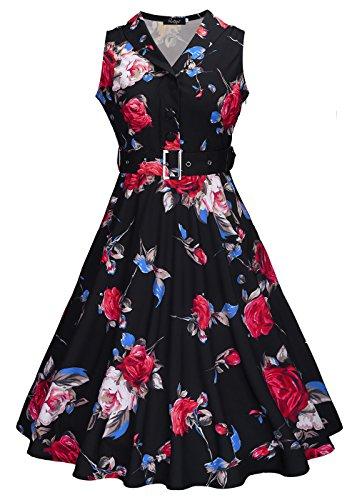 Womens 50s sin mangas con cuello en V rockabilly vintage vestido de té con cinturón desmontable Rosa Negro