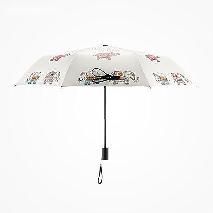 AFCITY Mujer Hombre Paraguas Viaje Elefante Creativo patrón Plegable Sombrilla Sombrillas Paraguas pequeña protección UV portátil