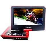 """Gamut-Tek 7.5 """"Reproductor de DVD portátil con pantalla giratoria, soporte para tarjetas SD y reproducción mediante USB directo en MP4 / AVI / RMVB / MP3 / JPEG, Negro(Red)"""