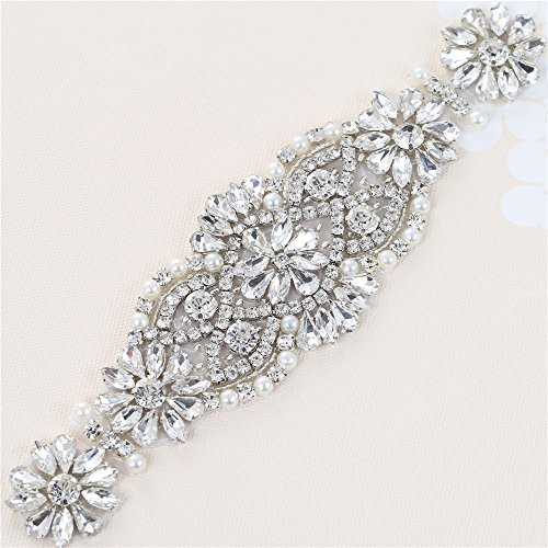 XINFANGXIU Bridal Wedding Dress Sash Belt Applique with Crystals Rhinestones Pearls Beaded Dacorations Handcrafted Sparkle Elegant Thin Sewn or Hot Fix for Women Gown Evening Prom Clothes - ()