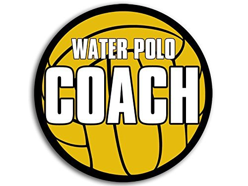 Water Polo Sticker Bumper - ROUND Ball Shaped Water Polo COACH Sticker (h20 decal h2o)