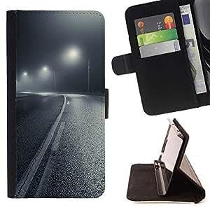 Momo Phone Case / Flip Funda de Cuero Case Cover - Luces de calle White Road Negro - Samsung ALPHA G850