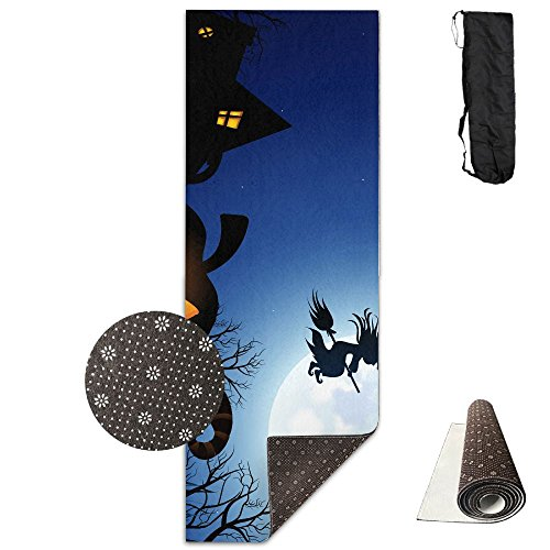 Spooky Halloween Yoga Mat - Advanced Yoga Mat - Non-Slip Lining - Easy To Clean - Latex-Free - Lightweight And Durable - Long 180 Width (100 Floors Halloween 13)