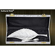 Cultural Hub ® Jk-324-423 Engraved Brass Leaf Decorative Designer Bowl 10 Inch Serving Platter Tray Dish Silver Plated Leaf Shaped Bowl and 4.5 Inch Silver Coated Spoon with Beautiful Blue Velvet Box Case with Satin Cloth Interior for Home Décor, Dining Accessories, Vintage Server, Silverware, Kitchenware,dinnerware,crockery, Anniversary, Thanksgiving, Housewarming, Diwali, Wedding Cordial Gift, Return Gift, Festive, Corporate Gifting