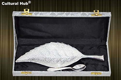 Designer Platter - Cultural Hub ® Jk-324-423 Engraved Brass Leaf Decorative Designer Bowl 10 Inch Serving Platter Tray Dish Silver Plated Leaf Shaped Bowl and 4.5 Inch Silver Coated Spoon with Beautiful Blue Velvet Box Case with Satin Cloth Interior for Home Décor, Dining Accessories, Vintage Server, Silverware, Kitchenware,dinnerware,crockery, Anniversary, Thanksgiving, Housewarming, Diwali, Wedding Cordial Gift, Return Gift, Festive, Corporate Gifting