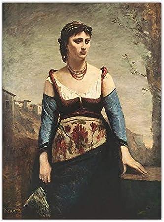 tzxdbh (55x75cm) Sin Marco Pintura al óleo Abstracta Vintage Retrato de Jean Baptiste Camille Corot francés Decoración de la habitación con lienzos para niños y Adultos