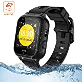 Themoemoe Kids Smartwatch Phone, Kids Smartwatch Waterproof Anti-Fall 2G GPS/LBS Tracker SOS Camera Games Compatible with Android iOS (Black)