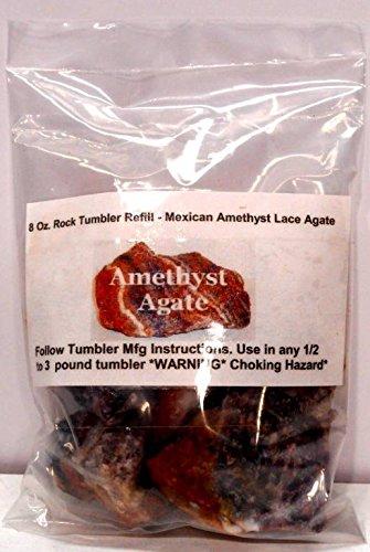 Rock Tumbler Gem Refill Kit Mexican Amethyst Lace Agate Roug