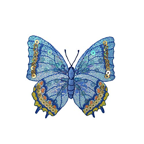 Blue Sequin Butterfly - Iron on Applique/Embroidered Patch